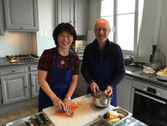 メインの付け合せの野菜の準備