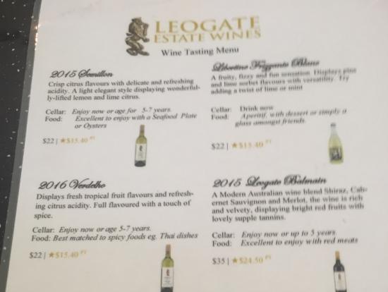 レオゲートエステートワインズ テイスティングリスト