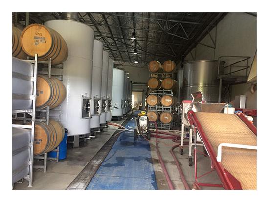 ワインの貯蔵庫 オーク樽でワインが眠ってます。
