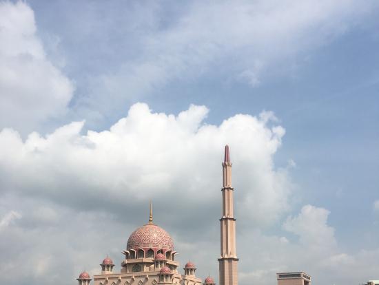 湖の上からもピンクモスクを見れます