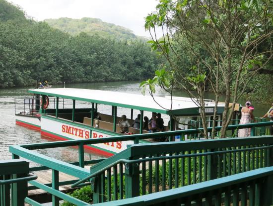 シダの洞窟へはこんな船に乗って行きます。西表島の仲間川みたいです。