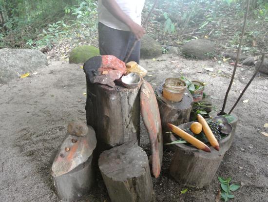アボリジニーの方が実際に使っていた儀式用の道具などを見せていただきました
