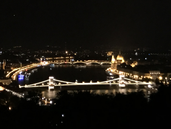 ゲッレールトの丘から見るドナウ川に架かるくさり橋