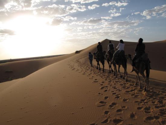 ラクダに乗って、小一時間。砂漠のテントを目指します!