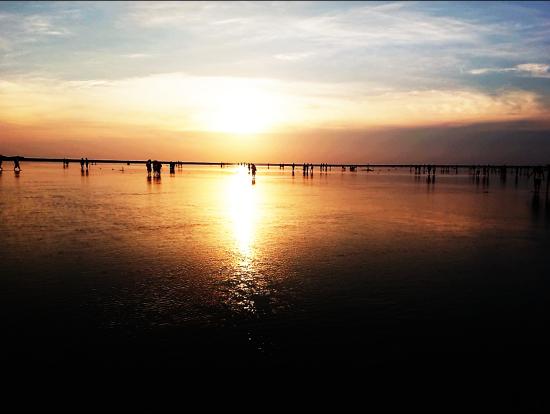 高美湿地の夕日