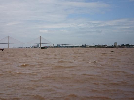 対岸の中洲(島)を結ぶ橋。川の水は上流の土砂を含んで泥色です。