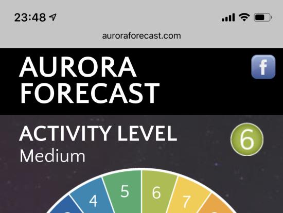 公開されているオーロラ予報サイト。ここでActivity Level が見られます