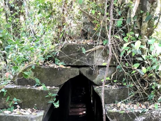 この中のトンネルを通ります。足元要注意!