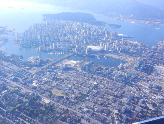 水上飛行機から見たダウンタウンです