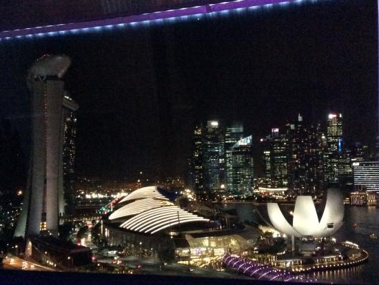 シンガポールフライヤーから見たマリーナ地区の夜景