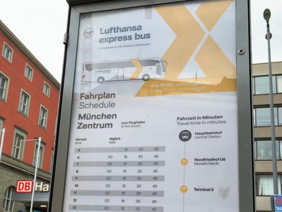 ミュンヘン中央駅からのバス出発時間