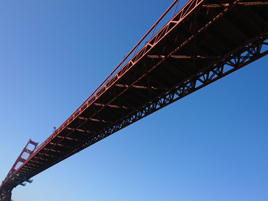 ゴールデンゲートブリッジを下を通過