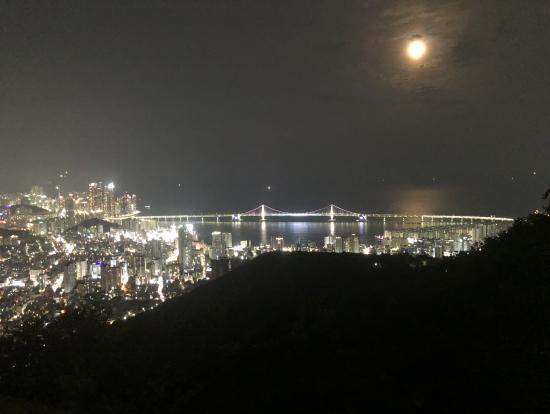 山の上からみる夜景