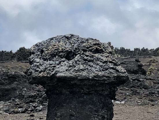 まるでカッパドキアみたいな岩は、流れる溶岩で根元が削られたのだそうな。