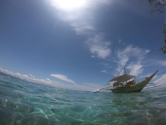 こういう船で移動します。この日は波もなくて滑るように進んでいきます。
