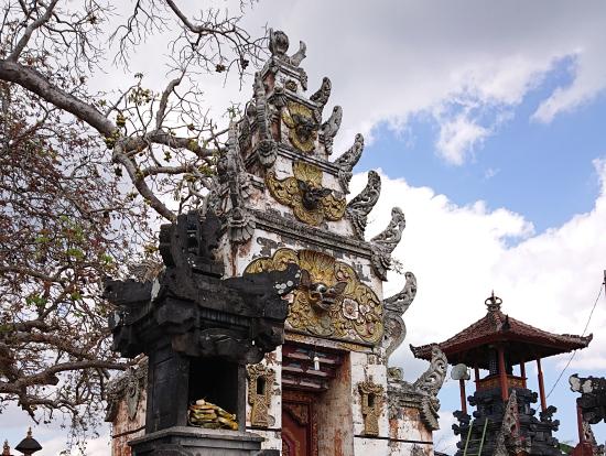 島の寺院です。とても大きな木に、沢山実がなっていました。