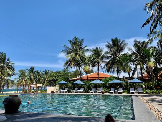 プールサイドは最高。目の前はビーチになっていますが誰も泳いでいません!